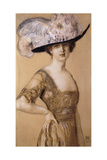 Portrait of a Lady Wearing a Feather Hat  1910