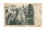 Trainee Sailors at a French Naval School Having a Boxing Lesson on Deck Postcard Sent in 1913