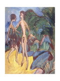 Youth and Naked Girl on Beach; Nackter Jungling Und Madchen Am Strand  1913
