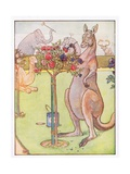 And the Kangaroo Tried to Paint the Roses Blue  Illustration from 'Johnny Crow's Party'  c1930