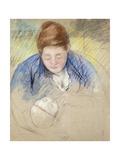 Woman Leaning over Baby; Femme Se Penchant Sur Un Bebe  c1907