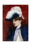 Elegant Woman with Feather Hat; Elegante Dame Mit Federhut  c1905