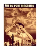 Young Boy with Chemistry Set  Front Cover of the 'Dupont Magazine'  October 1937