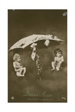 Happy New Year Card with Two Babies Hanging from an Umbrella  Sent in 1913