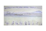 Nine Swans in Front of a Mountainous Landscape; Der Hafen Von Genf  Mit Neu