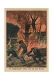 A Captain Burnt Alive on Board His Ship  Back Cover Illustration from 'Le Petit Journal' …