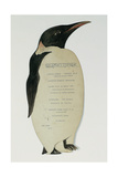 Menu in the Shape of an Emperor Penguin  for the Midwinter's Day Dinner  British Antarctic…