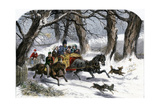Family Going to a Christmas Party by Horse-Drawn Sleigh  England  1850s