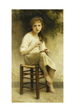 Idle Thoughts (Little Girl Sitting Embroidering); Vaines Pensees (Petite Fille Assise Brodant) …