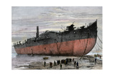 """Wrecked Hull of the Steamship """"Great Eastern"""" at New Ferry  England  1889"""
