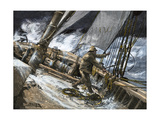 Hauling in Sails During a Squall  1800s