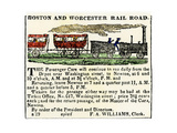 Ad for the Boston and Worcester Railroad  Early 1800s