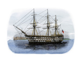 """Lord Nelson's Ship HMS """"Victory"""" in Portsmouth Harbor  1800s"""