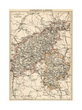 Map of Northamptonshire and Bedfordshire  England  1870s
