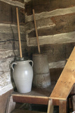 Churns in Norwegian Immigrants' Milk Shed at Kvaale Farm  as 1865  at Old World Wisconsin