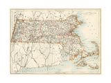 Map of Massachusetts  1870s