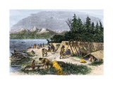 Native American Encampment on the Shore of Puget Sound  Washington