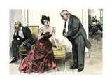 Woman Whose Dance Card Is Full Refusing a Suitor  1890s