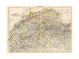 Map of Switzerland  1870s