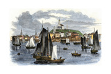 Fishing Boats in the Harbor of Provincetown  Massachusetts  1850s