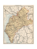 Map of Cumberland  England  1870s