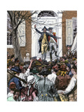 Alexander Hamilton Delaying a Patriotic Mob From Entering King's College  1775