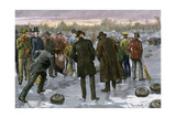 Curling Match on a Frozen Lake in Canada  1880s