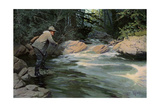 Trout on the Hook of a Fisherman in the north Woods  Circa 1900