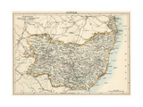 Map of Suffolk  England  1870s