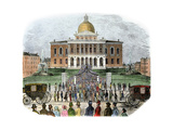 Crowds Leaving the Massachusetts State Capital  Boston  1850s