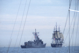 "USS Constitution ""Old Ironsides"" Under Sail  Escorted by Modern US Navy Frigate  1997"