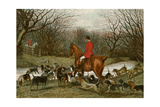 Huntsman with Foxhounds Tracking a Scent Across a Brook  England  1800s