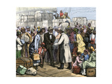 African-Americans Moving north Welcomed at the St Louis Steamboat Dock  1880s