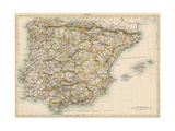 Map of Spain and Portugal  1870s