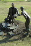 Statue of Freed Slave Handing a Boy a Book at Union Army's Contraband Camp