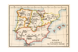 Map of the Iberian Peninsula Under the Moors  13th Century
