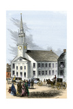 Carriages on the Street by Old South Church in Newburyport  Massachusetts  1850s