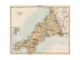 Map of Cornwall  England  1870s