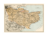 Map of Kent  England  1870s