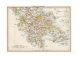 Map of Greece  1870s
