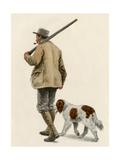 Duck Hunter with His Gun Dog  Circa 1900