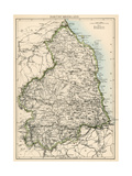 Map of Northumberland  England  1870s