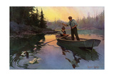 Fishing for Bass From a Rowboat in the north Woods Papier Photo