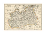 Map of Surrey  England  1870s