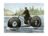 Amphibious Tricycle Which Uses Inflated Rubber Tires  France  1890s