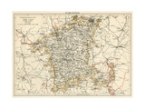 Map of Worcestershire England  1870s