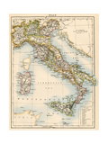 Map of Italy, 1870s Giclée
