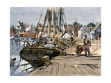 Fishing Boats Along Central Wharf  Provincetown  Massachusetts  1890s