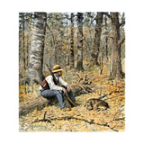 "Hunter with His Dog in Autumn Woods  From Sarah Orne Jewett's Story  ""The Coon Dog"""