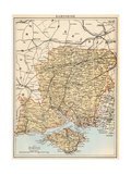 Map of Hampshire  England  1870s
